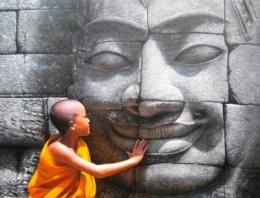 Obraz mladého mnicha s Buddhou